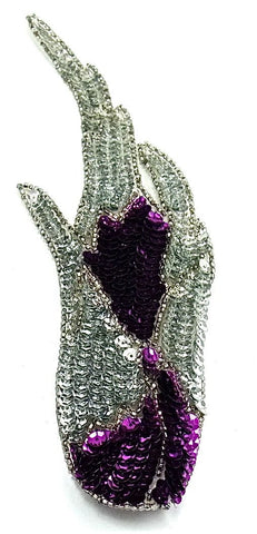"Design Motif Flame with Purple and Silver Sequins 8"" x 2.5"""