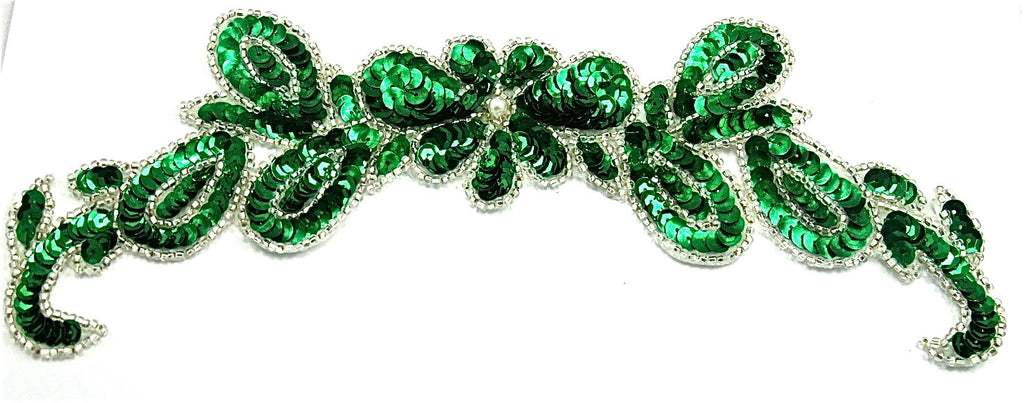 "Flower Spray with Green and Silver Sequins and Beads 9.5"" x 3"""