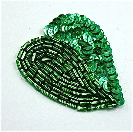 "Design Motif Green Sequins and Beaded Leaf 1.5"" x 2"""