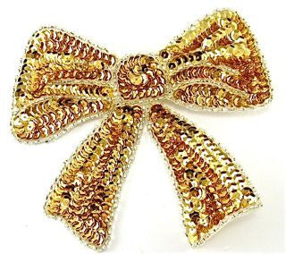 "Bow with Gold Sequins and Beads  5.5"" x 5"""