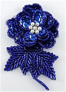 "Flower Royal Blue Sequins and Beads with Pearl and Rhinestone 3"" x 2"""
