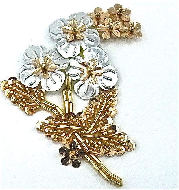 "Flower Gold and Silver Sequins and Beads 2"" x 3.5"""