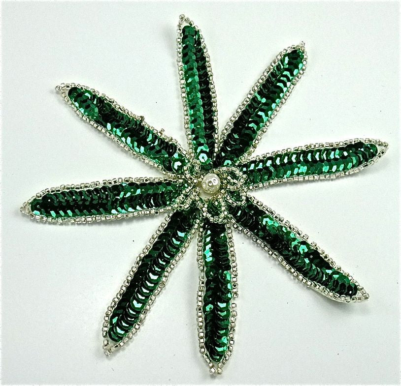"Flower with  Green Sequins and Silver Beads Pearl Center 6"" x 6"""