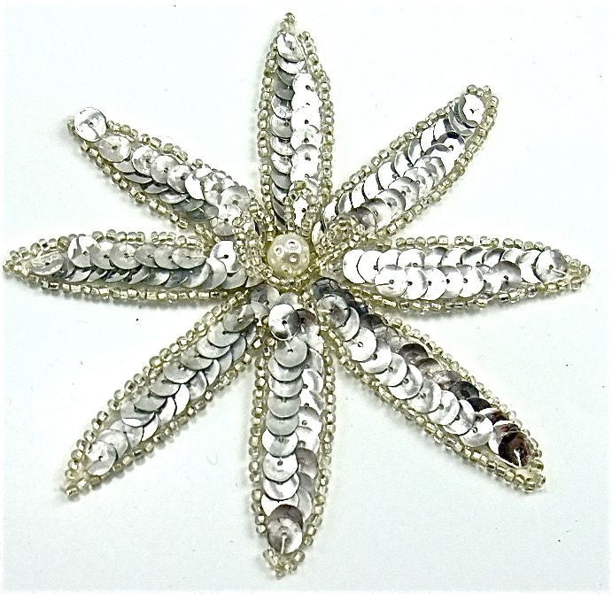 "Flower with Pointed Petals and Silver Sequins and Beads and Pearl 4"" x 4"""