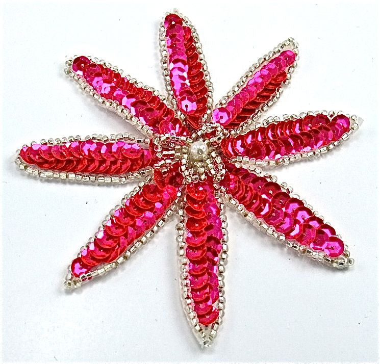 "Flower with Hot Pink Sequins with Silver Beads 4"" x 4"""