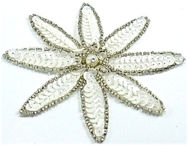 "Flower with White Sequins and Silver Beads with Pearl 4"" x 4"""