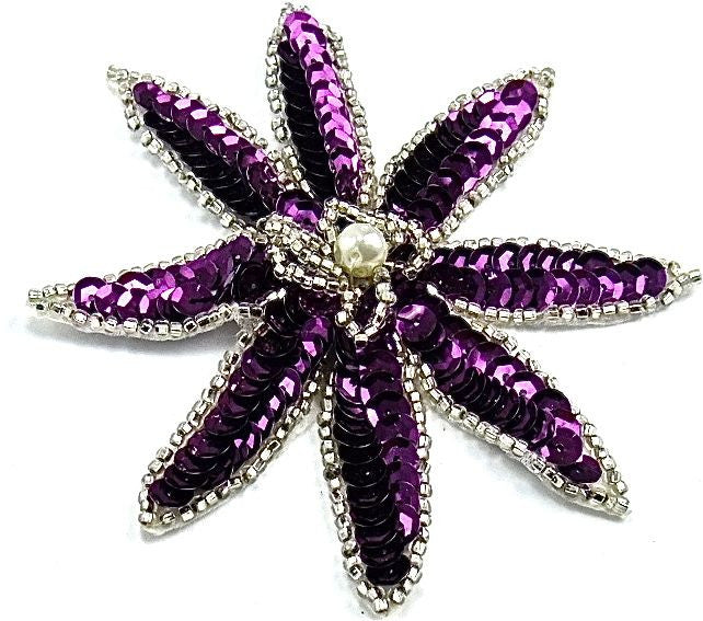 "Flower with Pointed Petals with Purple Sequins and Beads and Pearl 4"" x 4"""
