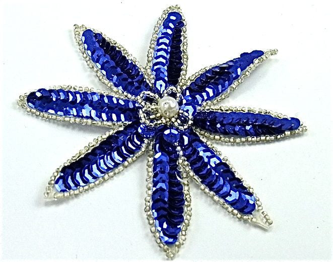 "Flower With Royal Blue Sequins and Silver Beads 4"" x 4"""