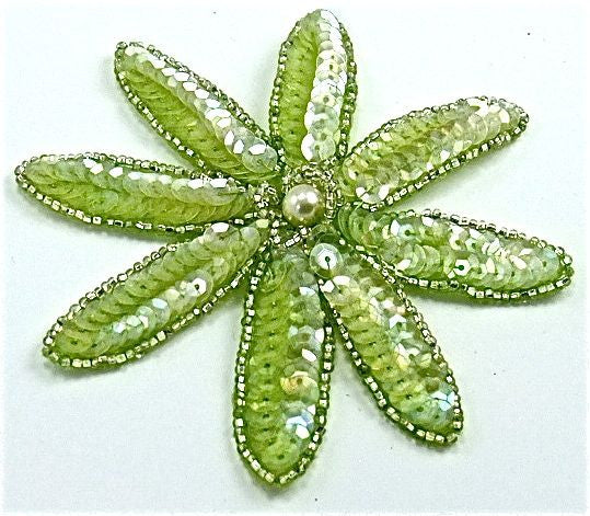 "Flower with Rounded Petal with Ice Green Sequins and Silver Beads and Pearl 4"" x 4"""