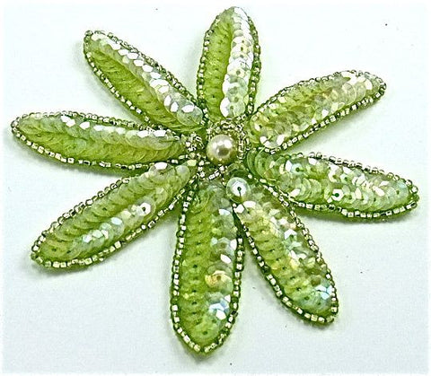 "Flower with Rounded Petal with Lime Green Sequins and Silver Beads and Pearl 4"" x 4"""