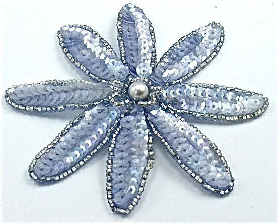 "Flower with Rounded Petals and Ice Blue Sequins and Silver Beads with Pearl 4"" x 4"""