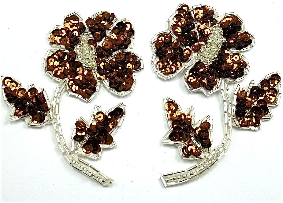 "Flower Pair with Bronze Sequins Silver Beads 3.5"" x 4"""
