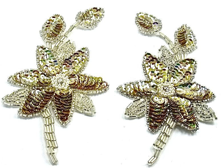 "Flower Pair with Gold Sequins and Beads 5.5"" x 2.5"