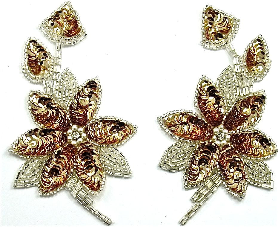 "Flower Pair with Gold Sequins and Silver Beads 2.5"" x 5.5"""