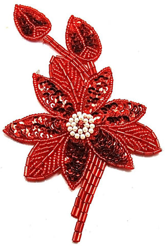 "Flower with Red Sequins and Beads and Rhinestone in the middle  2.5"" X 5.5"""