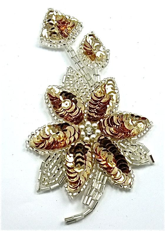 "Flower Single with Gold Sequins and Silver Beads 5.5"" x 2.5"""
