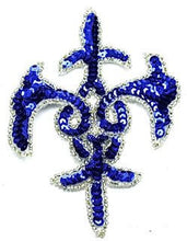 "Load image into Gallery viewer, Design Motif Royal Blue Sequins with Silver Beads 4"" x 5.5"""