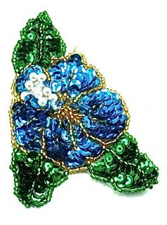 "Flower with Turquoise and Green Sequins Pearl Center 3.5"" x 2.5"""