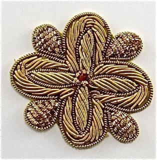 "Flower Rosette Bullion Thread with Red Center 2"" x 2"""