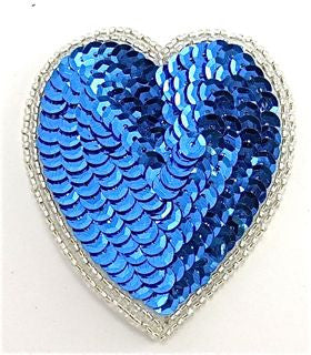 "Heart Blue with Silver Double Trim 2.75"" x 2"""