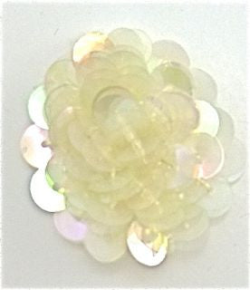 Flower with Multi-Raised Sequins Iridescent with Yellowish Tone 1.5""