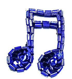 "Double Note with Royal Blue Sequins and Beads 1.5"" x 1.5"""