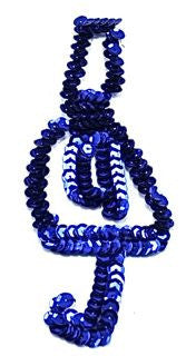 "Treble Clef with Royal Blue Sequins 5.5"" x 2.5"""