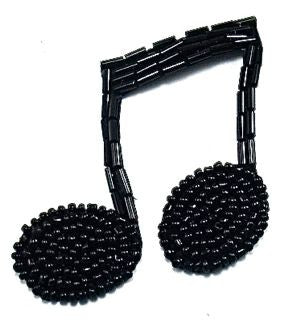 "Double Note with Black Beads 2.5"" x 2.5"""