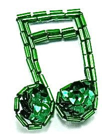 "Double Note with Emerald Sequins and Beads 1.5"" x 1.5"""