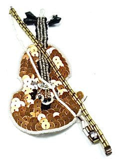"Cello with Bronze Sequins and White Beads 5.5"" x 3"""