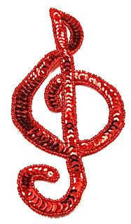 "Treble Clef with Red Sequins and Beads 7.5"" x 3.5"""