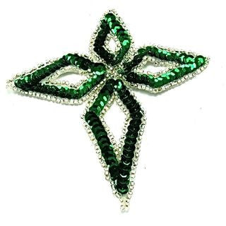 "Designer Motif with Green Sequins 4.5"" x 5"""