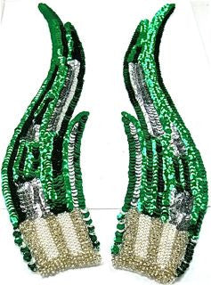 "Flame Pair with Emerald Green and Silver Sequins with Silver and White Pearls 12"" x 3"""