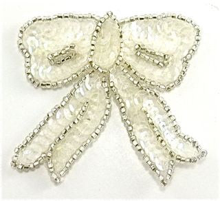 "Bow with Crystal Iridescent Sequins and Silver Beads 3"" x 3"""