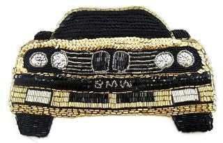 "BMW with Gold and Black Sequins 6"" x 8.75"""