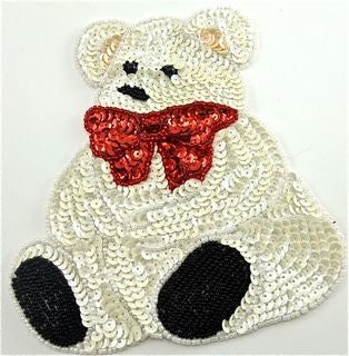 "Teddy Bear with White Sequins and Red Bow  6"" x 5.5"""