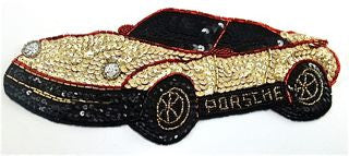 "Porsche with Gold and Black Sequins with Silver Headlites 10"" x 4"" On Sale!"