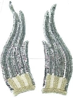 "Silver Flame Pair with Silver Sequins and Beaded Bottom 12"" x 3"""
