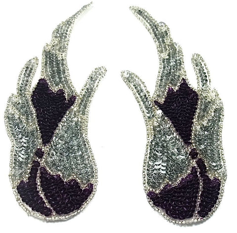 "Flame Pair with Deep Purple Sequins and Beads 3"" x 8"""