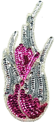 "Flame Single with Silver and Fuchsia Sequins and Beads 8"" x 3"""