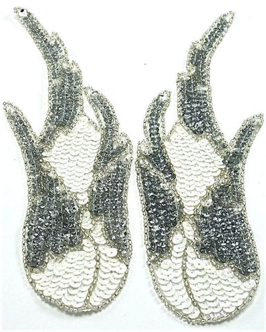 "Flame Pair Sequin Silver with White 8"" x 3"""