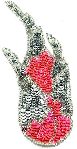 "Flame Single with Silver and Hot Pink Sequins and Beads 3"" x 8"""