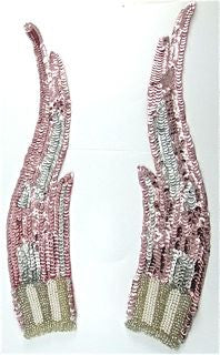 "Flame Pair with Pink and Silver Sequins with Silver and Pearl Beads 12"" x 3"""