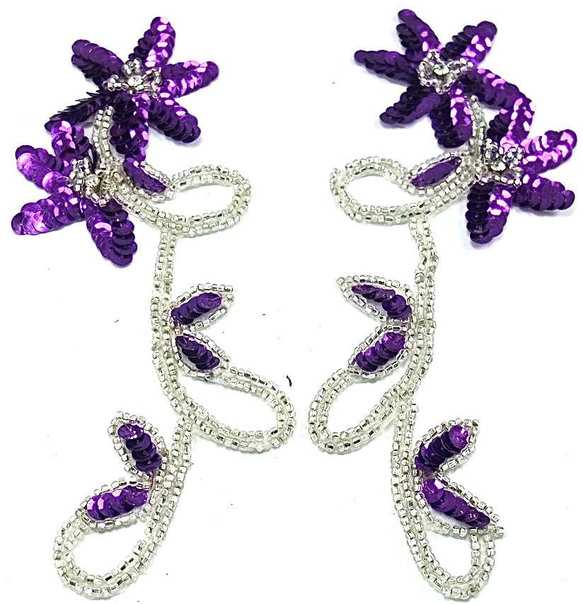 "Flower Pair with Purple Sequins and Silver Beads, 8"" x 3.5"""