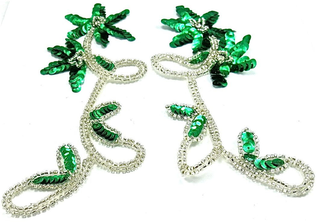 "Flower Pair with Emerald Green sequins Silver Beads 8"" x 3.5"""