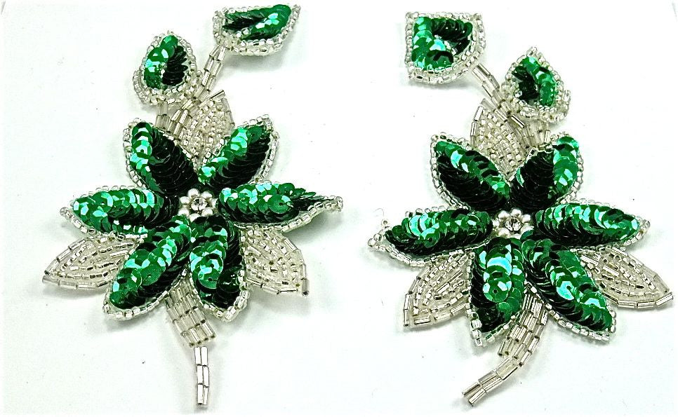 "Flower Pair with Green Sequins Silver Beads Pearls and Rhinestone 6"" x 3"""