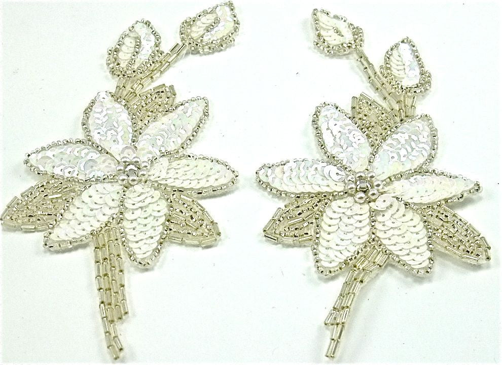 "Flower Pair with China White Sequins Silver Beads 5.5"" x3"""