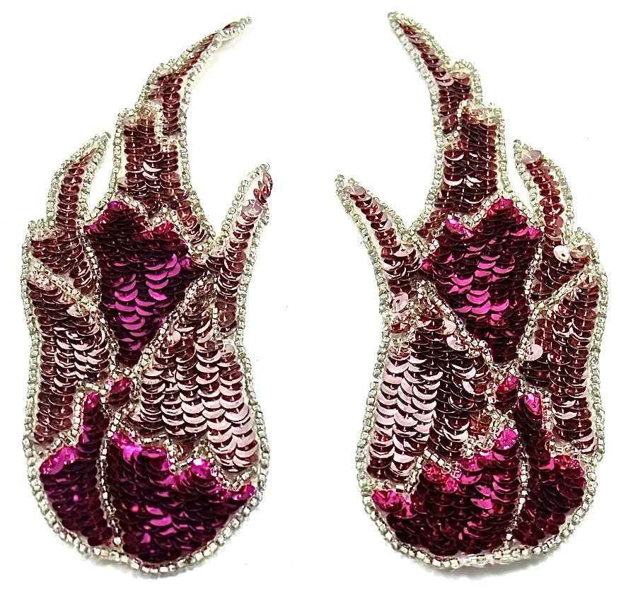 "Flame Pair with Fuchsia and Pink Sequins 3"" x 8.5"""