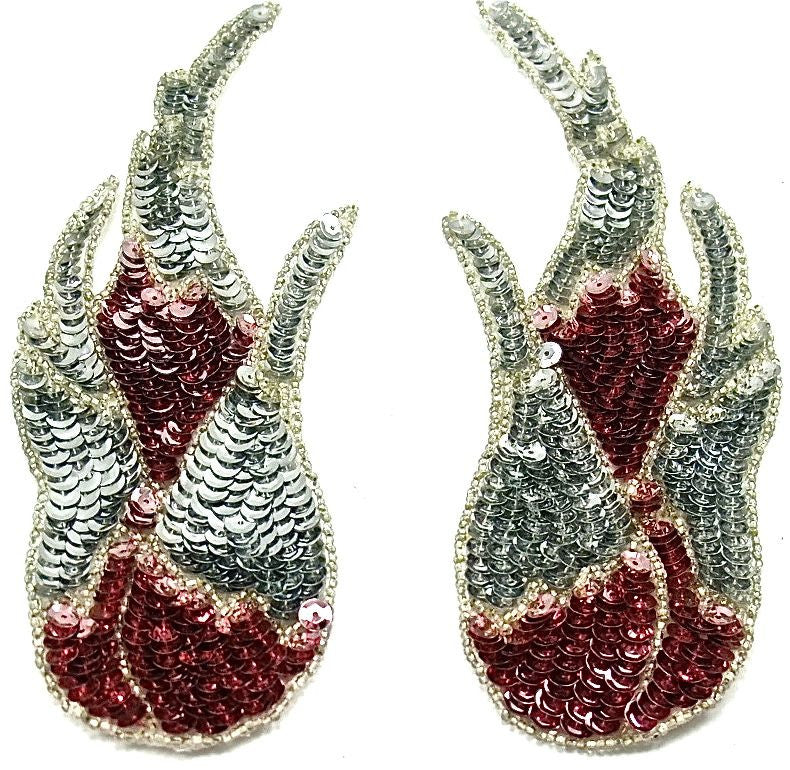 "Flame Pair with Pink and Silver Sequins 3"" x 8.5"""