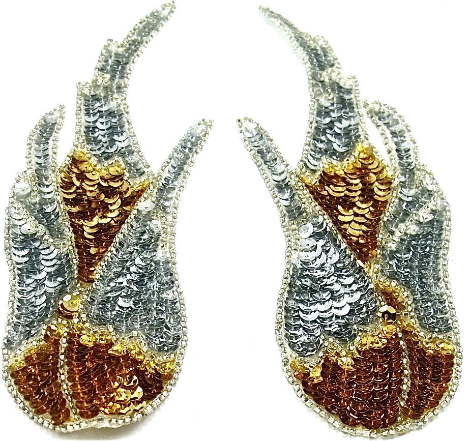 "Flame Pair with Gold and Silver Sequins 8.5"" x3"""
